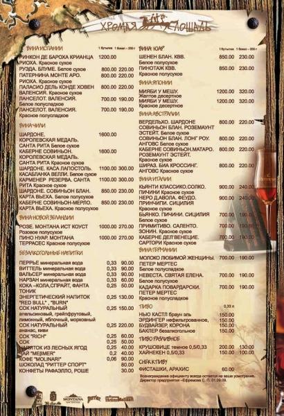 Пример дизайна меню для ресторана